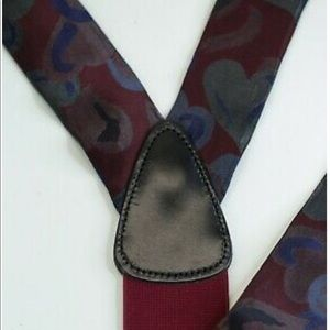 New Trafalgar Maroon Heart Silk Button Suspenders